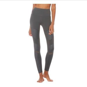 ALO YOGA Gray High Waist Moto Leggings Size Small